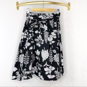 Talbots Black & White Floral & leaves midi skirt